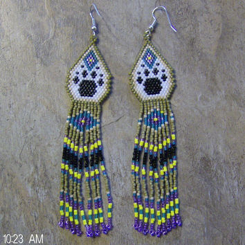 Wolf Paw Earrings Hand Made Seed Beaded
