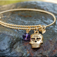 Sugar Skull Twisted Expandable Bangle Bracelet, Adjustable Bangle, Sterling Silver Bracelet, Day of the Dead bracelet, 14k gold bangle