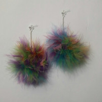 Pom Pom Earrings - Colorful Fluffy Marabou Feather Earrings - Pastel Pom Pom Earrings - clueless - mean girls
