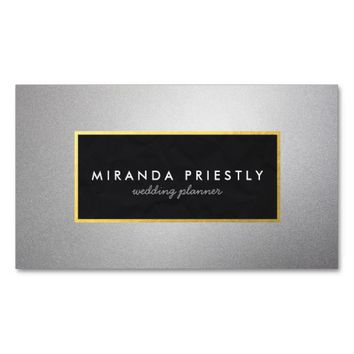 Modern Black and Silver Gold Frame Wedding Planner Business Card