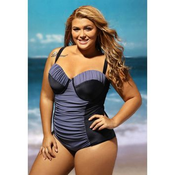 Black Grey Ruched One Piece Swimsuit