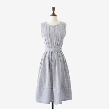 Japanese Fashion Mori Girl Style Sweet Summer Dress Slim High Waist Vintage Dress Striped Pleated Bandage Plus Size Linen Dress