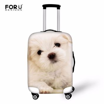 FORUDESIGNS Cute 3D Dog Travel Luggage Protective Covers Animal Prints Waterproof Anti-dust Suitcase Cover For 18-30 Inch Cases