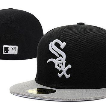 CREY8KY Chicago White Sox New Era MLB Authentic Collection 59FIFTY Hats Black-White