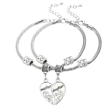 Heart Mother Daughter Bracelet Love Family Mother's Gifts 2PC/Set Jewelry Female Best Friend Women Jewelry Beads Charm Chain