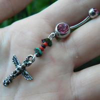 tribal totem belly ring totem pole PINK in tribal native american inspired boho gypsy hippie belly dancer beach and hipster style