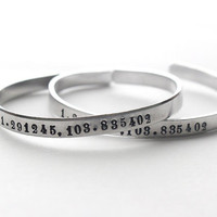 Personalized Coordinates Custom Silver Bracelet Bangle Handstamped Engraved - Numbers -f or couples