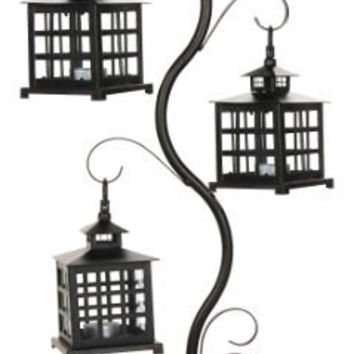 Darice 6568-01 Candle Lantern, 7.75 by 1.75 by 27.5-Inch, Black