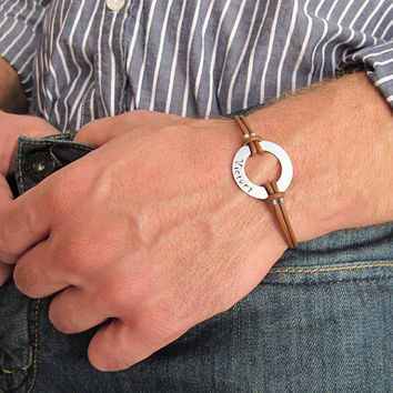 Washer Latitude Longitude Mens Bracelet / Brown Mens Wristband / Adjustable Leather Bracelet