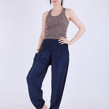 Plain Navy blue  Elephant pants /Hippies pants /Boho pants one size fits harem pant