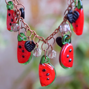 Watermelon necklace Fruit jewelry Lampwork necklace Glass bead necklace Fall necklace Autumn jewelry Berry Mini Food Teen girl gift