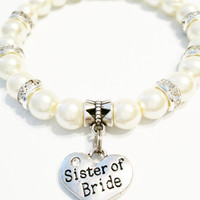 Sister of the Bride Bracelet / Wedding Jewelry / Heart Shaped Sister Jewelry / Rhinestone Sister of the Bride Charm /  Sister Bracelet