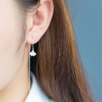 2016 New Fashion Silver Leaf Earrings for Women Long Chain Earrings Wedding Gifts SYED101