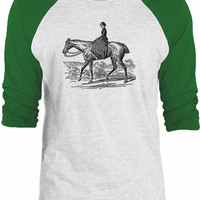 Big Texas Madame on a Horse 3/4-Sleeve Raglan Baseball T-Shirt