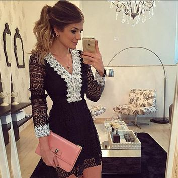 Ladies Lace V-neck Hot Sale Women's Fashion Dress One Piece Dress [11545811919]