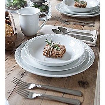 Longaberger Everyday Tableware™ 4-Pc Pottery Dinnerware Set - White **NEW**