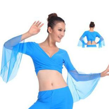 Sexy Chiffon Lake Blue Belly Dance Tops