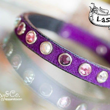 Purple Suede Solid Crystal Collar