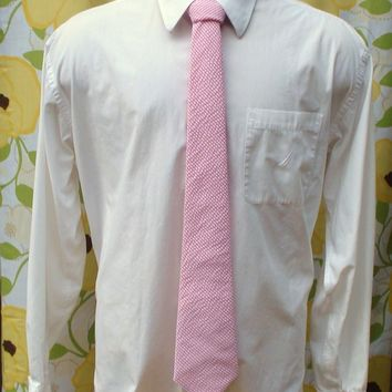 Hot Pink Seersucker Mens Tie Fuchsia Stripped Necktie Completely Custom Skinny or Extra Long