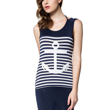 Striped Anchor Print Sleeveless Backless Mini Pencil Bodycon Dress