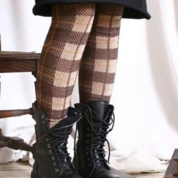 Punk Academic Pivate School Uniform Leg warmer Caramel Brown Tartan Plaid Check