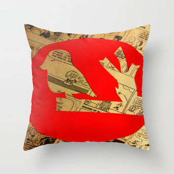 Red Bird Comic Throw Pillow by Rhiannon