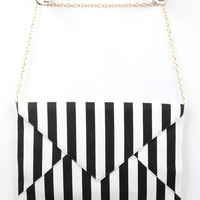 Striped Envelope Clutch