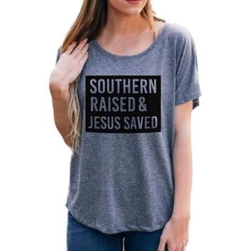 Gray T-Shirt Women Hot southern raised Letters Printing Short Batwing Sleeve Tops