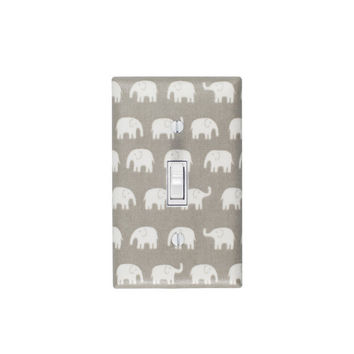 Gray Elephant Light Switch Plate / Baby Nursery Decor Gender Neutral / Japanese Fabric / Slightly Smitten Kitten