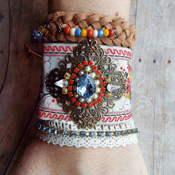 Couture Multi-Color Rhinestone RibbonTrim Bracelet  Boho Hippie Filigree Antiqued Brass Charm