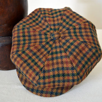 Mustard Yellow Plaid Patterned Tweed Newsboy Cap - Pure Wool Tweed Handmade Eight Piece / Bakerboy / Apple / Newsboy / Flat Cap - Men Women