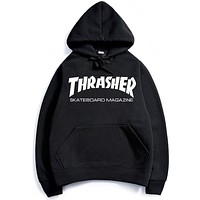 Thrasher Men's sweater hoodie coat printing letters Black+(White  Letters)