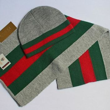 Gucci Autumn Winter Fashion Women Men Knit Hat Cap Scarf Set Two-Piece Grey I13829-1