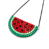 Oversized Statement Watermelon Necklace - Fruity Sparkly Cute & Kitsch Jewellery - Rhinestone Melon Pendant for Fruit Lovers
