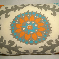 "Decorative Lumbar Pillow - Gray / Orange / Blue / Cream - 10"" x 20"""