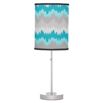 Teal Turquoise Blue Grey Gray Chevron Ombre Fade Table Lamp