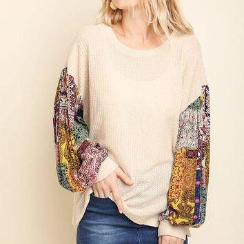CHARLOTTE Paisley Puff Sleeve Knit Top In Natural