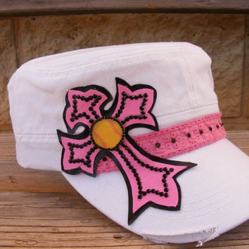Softball mom cadet hat with pink cross and black rhinestones