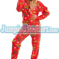 Wonder Woman Pajamas -Super Hero - Warner Bros. - Pajamas Footie PJs One Piece Adult Pajamas - JumpinJammerz.com
