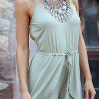 Light Green Cut-Out Back Tie-Waist Romper