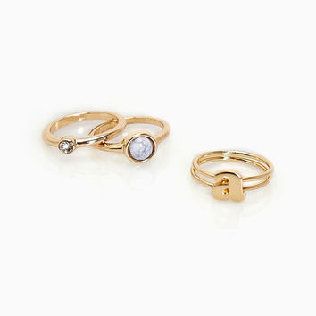 A Initial & Rhinestone Ring Set | Wet Seal