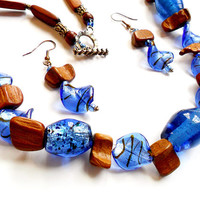 Vintage Wood Glass Boho Necklace Earrings Set - Art Glass Beads - Chunky Style - Artisan Made - French Wire Earrings - Blue Brown Copper