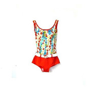 tropical 60s swimming costume . floral print . xs . uk 6 . eur 34  . usa 4 . swimwear . one piece .