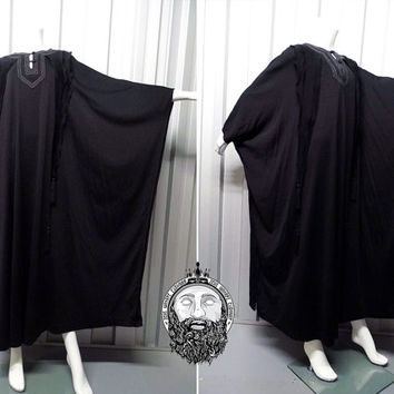 Vintage 70s JEAN VARON Black Kaftan Dress Angel Sleeve Kimono Sleeve Tassel Trim Maxi Gown Tassle Trim Gothic Gown Avant Garde 1970s Dress
