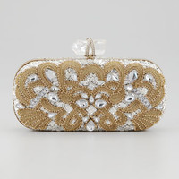 Marchesa Lily Medium Embroidered Crystal Box Clutch, Black