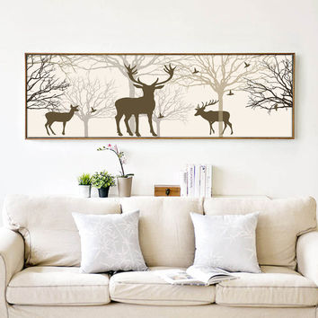 Elk Landscape Canvas Shadow Clip Art Poster Simple Print Abstract Painting Modern Home Decoration Wall Painting Picture AN038