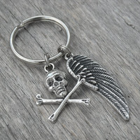 Skull Keychain Skull Keyring Gothic Key Chain Goth Key Ring Wing Punk Rock n Roll Rocker Rock and Roll Heavy Metal Bag Purse Clip Accessory