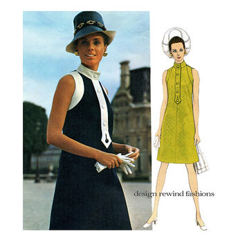 1960s VOGUE DRESS PATTERN Jeanne Lanvin Designer Mod Sleeveless Dress with Standing Collar Vogue 2143 Paris Original Vintage Sewing Patterns