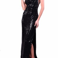 Honey Couture LUNA Black Low Back Sequin Formal Gown Dress