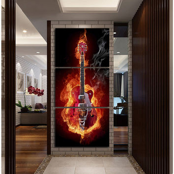 Music Art 3 Panel Wall Painting Modern Home Decors Black Burning Guitar Pop Art Pictures Decorn On Canvas Painting Printed A052